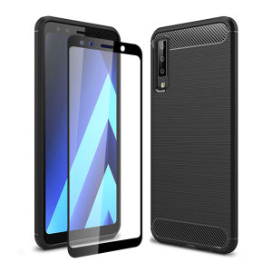 Flexible rugged casing with a premium matte finish non-slip carbon fibre and brushed metal design, the Olixar Sentinel case in black keeps your Samsung Galaxy A7 2018 protected from 360 degrees with the added bonus of a tempered glass screen protector.