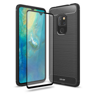 Flexible rugged casing with a premium matte finish non-slip carbon fibre and brushed metal design, the Olixar Sentinel case in black keeps your Huawei Mate 20 protected from 360 degrees with the added bonus of a tempered glass screen protector.