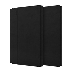 "The Faraday Folio Stand Case in black for the iPad Pro 11"" 2018 features a rigid Plextonium polycarbonate rear hard shell and a smooth vegan leather front cover with a magnetic closure for an ideal balance between style and protection."