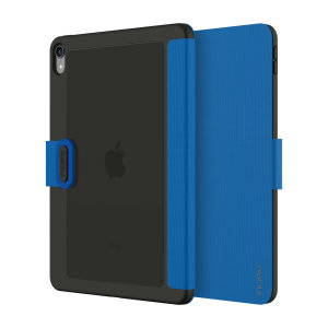The shock absorbing Clarion Folio case Incipio Faraday iPad Pro 11 2018 Folio Case in Blue from Incipio houses your iPad Pro 11 2018 tablet, providing protection and access to your ports and features while incorporating a built-in viewing stand.