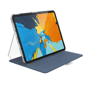 "Provide sophisticated and elegant protection for your Apple iPad Pro 11 with the StyleFolio case in a stylish ""Marine Blue/Clear"" design from Speck. Complete with a multi-angle viewing stand and secure closure system."