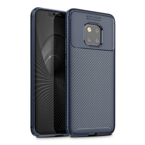 Flexible rugged casing with a premium matte finish non-slip carbon fibre and brushed metal design in blue, the Olixar carbon case in black keeps your Huawei Mate 20 Pro protected.