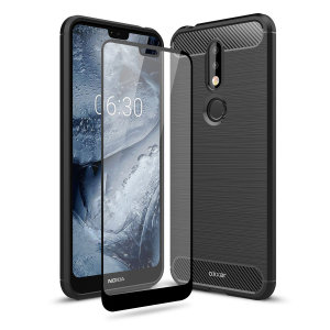 Flexible rugged casing with a premium matte finish non-slip carbon fibre and brushed metal design, the Olixar Sentinel case in black keeps your Nokia 7.1 protected from 360 degrees with the added bonus of a tempered glass screen protector