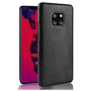 Dieses krokoähnliche Lederetui in Schwarz verleiht Ihrem Huawei Mate 20 Pro einen Hauch von Eleganz und bietet gleichzeitig hervorragenden Schutz.