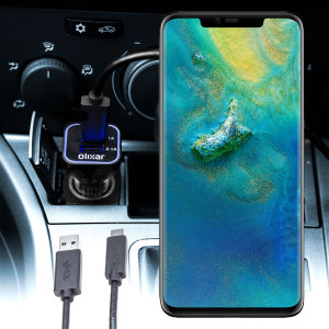 Keep your Huawei Mate 20 Pro fully charged on the road with this compatible Olixar high power dual USB 3.1A Car Charger with an included high quality USB to USB-C charging cable.