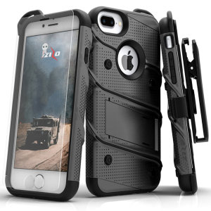 Equip your Apple iPhone 8/7 plus with military-grade protection and superb functionality with the ultra-rugged Bolt case in Grey and Black from Zizo. Coming complete with a handy belt clip and integrated kickstand.