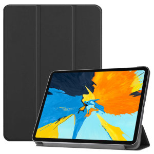 Protect your iPad Pro 12.9 2018 with this supremely functional black case with viewing stand feature. Also features smart sleep / wake functionality.