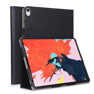 Protect your iPad Pro 12.9 2018 with this fantastic black leather-style stand case. The frame folds out to become a media viewing stand, perfect for streaming videos or gaming.