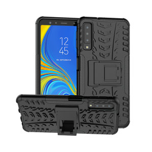 Protect your Samsung Galaxy A7 2018 from bumps and scrapes with this black ArmourDillo case from Olixar. Comprised of an inner TPU case and an outer impact-resistant exoskeleton, with a built-in viewing stand.