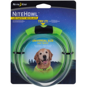 he NiteHowl can be easily cut to fit, making it perfect for both big and small dogs. This dog safety necklace provides a full ring of illumination around your dog's neck and can be set to glow or flash mode to keep your furry friend seen and safe at night
