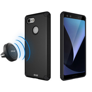 Hold your phone safely in your car while shielding it from damage with this Olixar Magnus magnetic car holder / protective case combo for your Google Pixel 3 - in black.