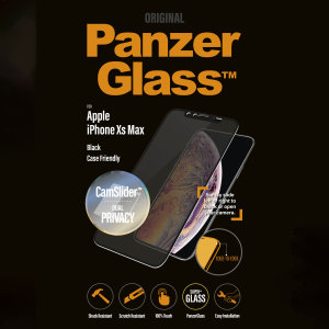 Introducing the PanzerGlass glass case friendly CamSlider screen protector with privacy filter. Designed to be shock resistant and scratch resistant, PanzerGlass offers ultimate protection for your iPhone XS Max display.