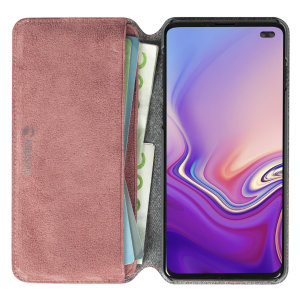 Krusell's Broby 4 Card Slim Wallet leather case in Pink combines Nordic chic with Krusell's values of sustainable manufacturing for the socially-aware Samsung S10 Plus owner who seeks 360° protection with extra storage for cash and cards.