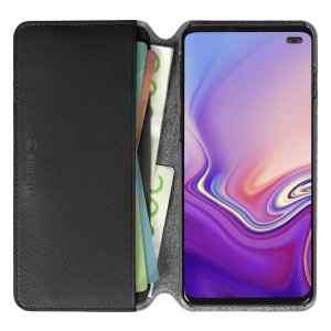 Krusell's Pixbo 4 Card Slim Wallet vegan leather case in Black combines Nordic chic with Krusell's values of sustainable manufacturing for the socially-aware Samsung S10 Plus owner who seeks 360° protection with extra storage for cash and cards.