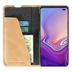 Krusell's Sunne 2 Card Folio wallet vegan leather case in Vintage Nude combines Nordic chic with Krusell's values of sustainable manufacturing for the socially-aware Samsung S10 Pkus owner who seeks 360° protection with extra storage for cash and cards.