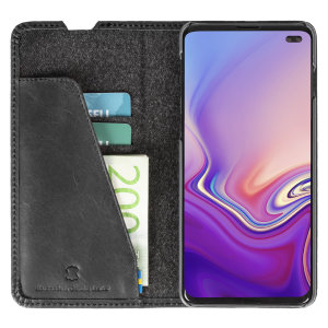 Krusell's Sunne 2 Card Foliowallet vegan leather case in Vintage Black combines Nordic chic with Krusell's values of sustainable manufacturing for the socially-aware Samsung S10 Plus owner who seeks 360° protection with extra storage for cash and cards.