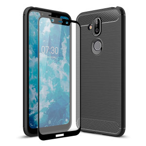 Flexible rugged casing with a premium matte finish non-slip carbon fibre and brushed metal design, the Olixar Sentinel case in black keeps your Nokia 8.1 protected from 360 degrees with the added bonus of a tempered glass screen protector