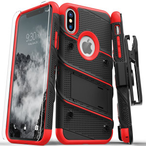 Equip your Apple iPhone XS Max with military grade protection and superb functionality with the ultra-rugged Bolt case in black / red from Zizo. Coming complete with a handy belt clip and integrated kickstand.