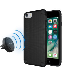 Hold your phone safely in your car while shielding it from damage with this Olixar Magnus magnetic car holder / protective case combo for your iPhone 6S / 6 - in black.