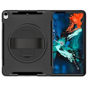 Das Olixar Rugged Case in Schwarz bietet vollständigen Schutz für Ihr iPad Pro 12.9 2018, einen eingebauten Standfuß und eine praktische Trageschlaufe für den Transport.