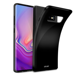 Custom moulded for the Samsung Galaxy S10, this solid black FlexiShield case by Olixar provides slim fitting and durable protection against damage.
