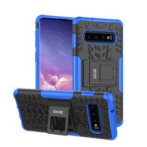Protect your Samsung Galaxy S10 from bumps and scrapes with this blue ArmourDillo case from Olixar. Comprised of an inner TPU case and an outer impact-resistant exoskeleton, with a built-in viewing stand.