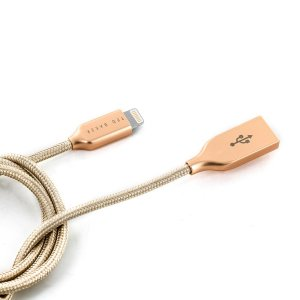 Make sure your Apple devices are always fully charged and synced with the Ted Baker MFI lightning cable in Taupe. You can use this cable with a USB wall charger or through your desktop or laptop. 1m length.
