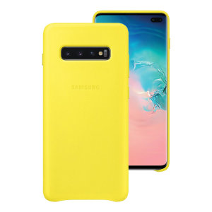 This Official Samsung Genuine Leather Cover in yellow is the perfect way to keep your Galaxy S10 Plus smartphone protected.