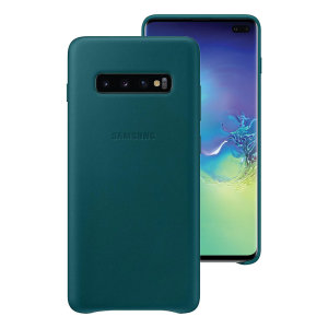 This Official Samsung Leather Cover in Green is the perfect way to keep your Galaxy S10 Plus smartphone protected.