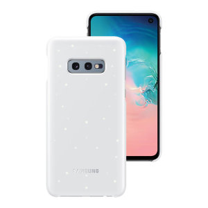 Protect your Samsung Galaxy S10e from harm with the intuitive Emotional LED Lighting Effect official case from Samsung in white.