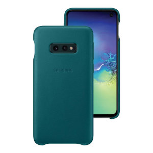 This Official Samsung Genuine Leather Cover Case in green is the perfect way to keep your Galaxy S10e smartphone protected.