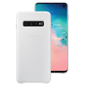 This Official Samsung Leather Cover in white is the perfect way to keep your Galaxy S10 smartphone protected.