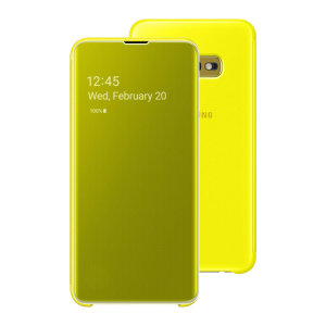 This Official Samsung Clear View Cover in yellow is the perfect way to keep your Galaxy S10e smartphone protected whilst keeping yourself updated with your notifications thanks to the clear view front cover.