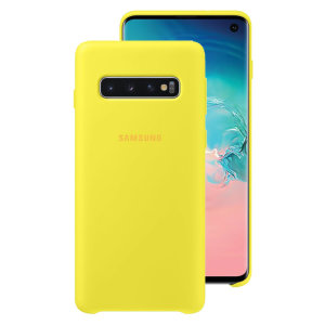Protect your Samsung Galaxy S10 with this Official silicone case in yellow. Simple yet stylish, this case is the perfect accessory for your S10.
