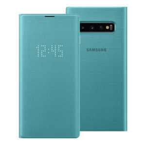 Protégez votre Samsung Galaxy S10 des dommages accidentels et consultez les notifications entrantes en un coup d'œil grâce à la protection LED View Cover Officielle en coloris vert.