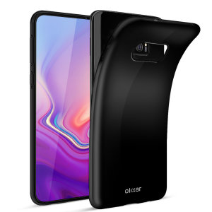 Custom moulded for the Samsung Galaxy S10e, this solid black FlexiShield case by Olixar provides slim fitting and durable protection against damage.