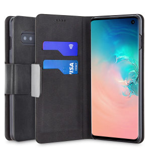 Protect your Samsung Galaxy S10 with this durable and stylish black leather-style wallet case by Olixar. What's more, this case transforms into a handy stand to view media.