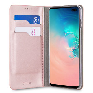 Protect your Samsung Galaxy S10 Plus with this durable and stylish rose gold leather-style wallet case by Olixar. What's more, this case transforms into a handy stand to view media.