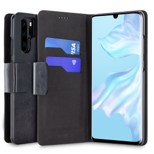 The Olixar leather-style Huawei P30 Pro Wallet Stand Case in black provides enclosed protection and can also be used to hold your credit cards. The case also transforms into a viewing stand for added convenience.