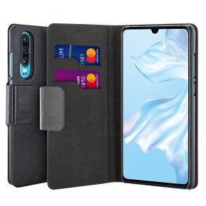 The Olixar leather-style Huawei P30 Wallet Stand Case in black provides enclosed protection and can also be used to hold your credit cards. The case also transforms into a viewing stand for added convenience.