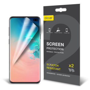 Keep your Samsung Galaxy S10 Plus' screen in pristine condition with this Olixar scratch-resistant screen protector 2-in-1 pack.