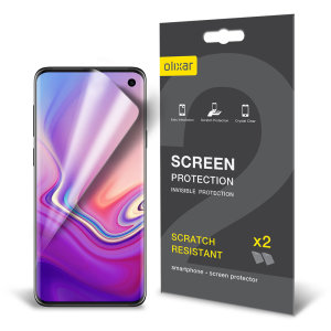 Keep your Samsung Galaxy S10e's screen in pristine condition with this Olixar scratch-resistant screen protector 2-in-1 pack.