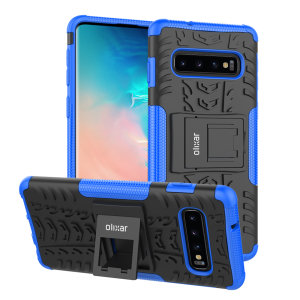 Protect your Samsung Galaxy S10 Plus from bumps and scrapes with this blue ArmourDillo case from Olixar. Comprised of an inner TPU case and an outer impact-resistant exoskeleton, with a built-in viewing stand.