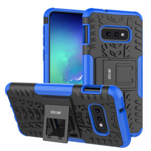 Protect your Samsung Galaxy S10e from bumps and scrapes with this blue ArmourDillo case from Olixar. Comprised of an inner TPU case and an outer impact-resistant exoskeleton, with a built-in viewing stand.