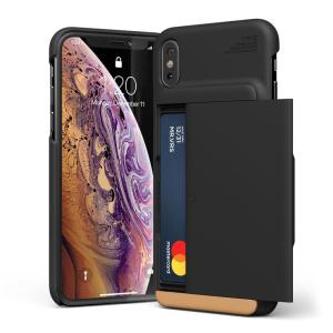 Protect your iPhone X/XS with this precisely designed case in Black from VRS Design. Made with tough yet slim material, this hardshell construction with soft core features patented sliding technology to store two credit cards or ID.