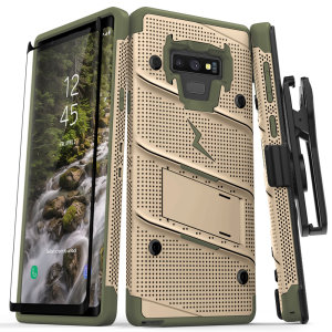 Equip your Samsung Galaxy Note 9 with military grade protection and superb functionality with the ultra-rugged Bolt case in Desert Tan & Camo Green from Zizo. Coming complete with a tempered glass screen protector, handy belt clip and integrated kickstand