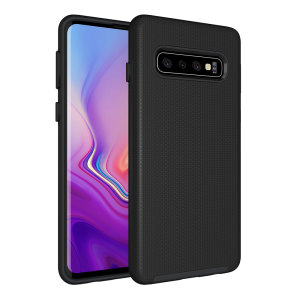 The Eiger North Dual Layer Protective Case in black is a hybrid ergonomic protective case for the Samsung Galaxy S10, providing fantastic protection without adding excessive bulk.