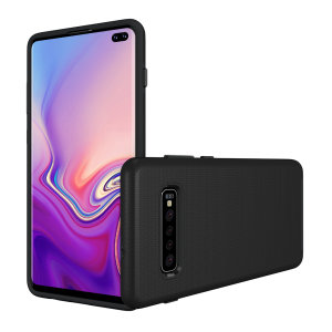 The Eiger North Dual Layer Protective Case in black is a hybrid ergonomic protective case for the Samsung Galaxy S10 Plus, providing fantastic protection without adding excessive bulk.