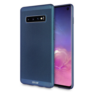 A supremely precision engineered lightweight slimline case in blue with a perforated mesh pattern that looks great, adds grip and aids heat dissipation from your Galaxy S10, as well as enhance the high performance beauty of the device.