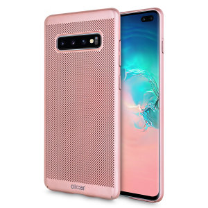 A supremely precision engineered lightweight slimline case in rose gold with a perforated mesh pattern that looks great, adds grip and aids heat dissipation from your Galaxy S10 Plus, as well as enhance the high performance beauty of the device.